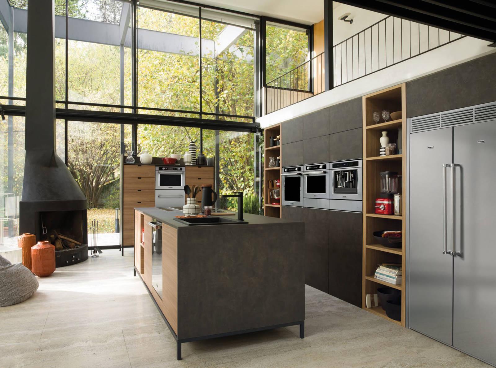 industrial style k che k che schwarz wei wandfarbe m lltrenner lackieren nolte weiss grifflos. Black Bedroom Furniture Sets. Home Design Ideas